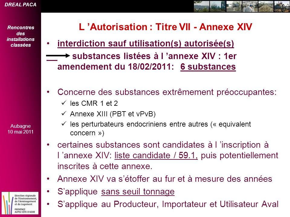 L 'Autorisation : Titre VII - Annexe XIV
