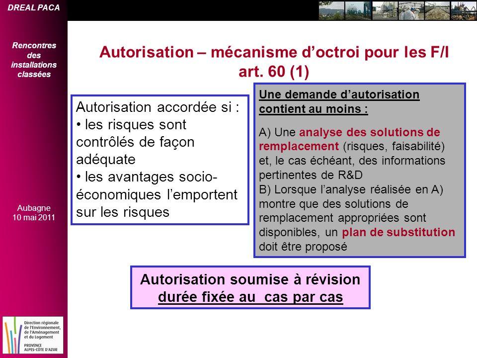 Autorisation – mécanisme d'octroi pour les F/I art. 60 (1)