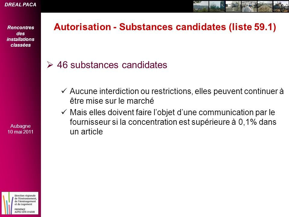 Autorisation - Substances candidates (liste 59.1)
