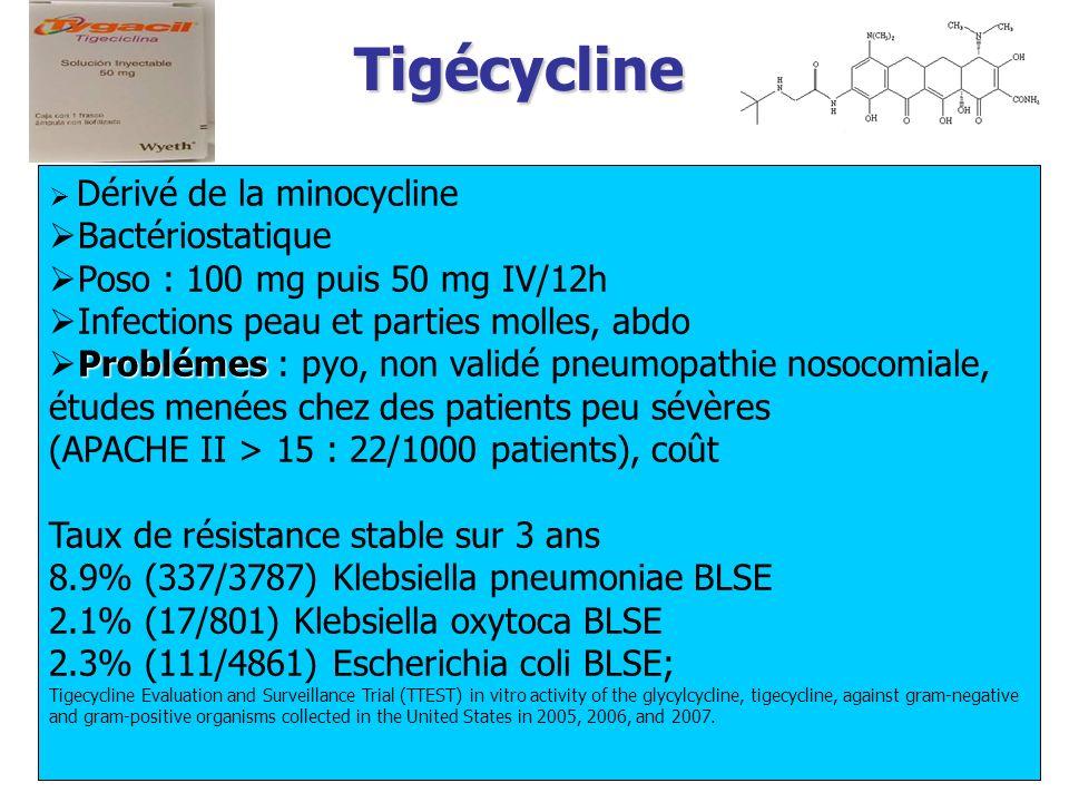 Tigécycline Bactériostatique Poso : 100 mg puis 50 mg IV/12h