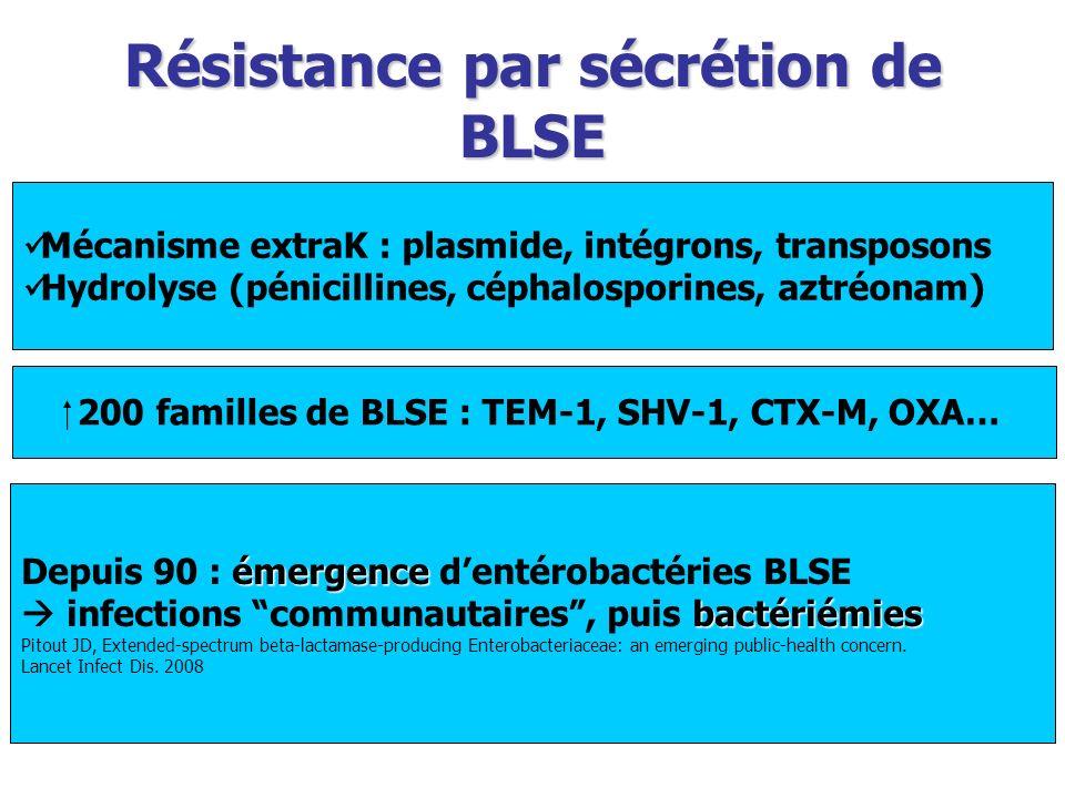 Résistance par sécrétion de BLSE