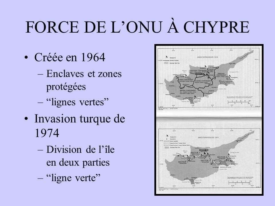 FORCE DE L'ONU À CHYPRE Créée en 1964 Invasion turque de 1974
