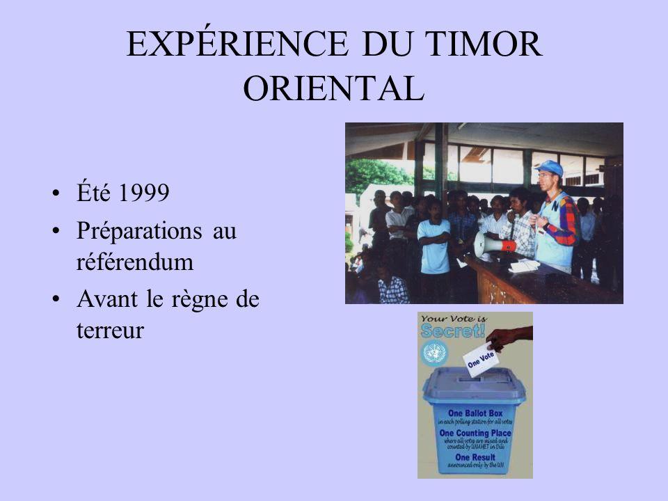 EXPÉRIENCE DU TIMOR ORIENTAL