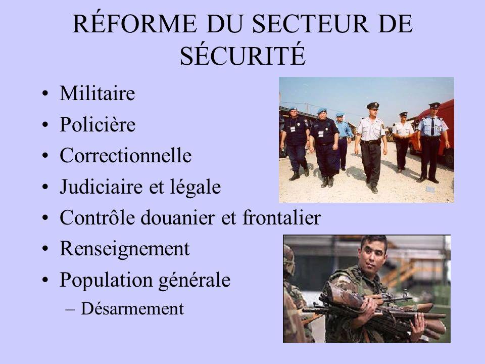 RÉFORME DU SECTEUR DE SÉCURITÉ