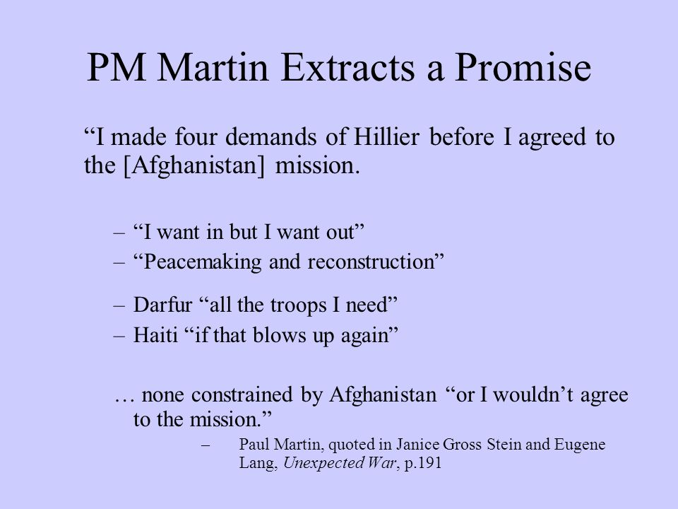 PM Martin Extracts a Promise