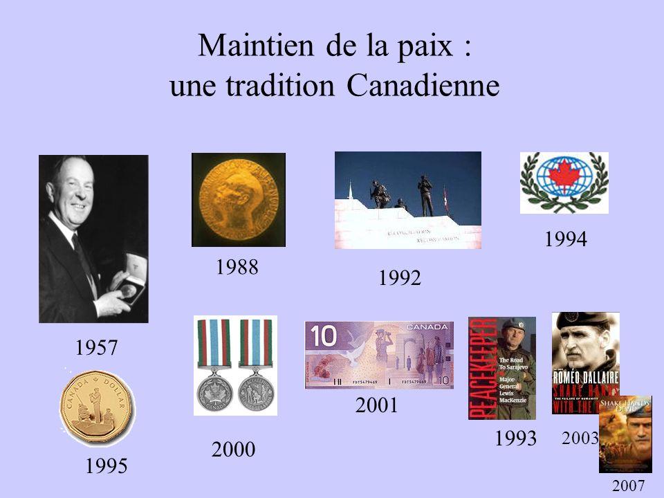 Maintien de la paix : une tradition Canadienne