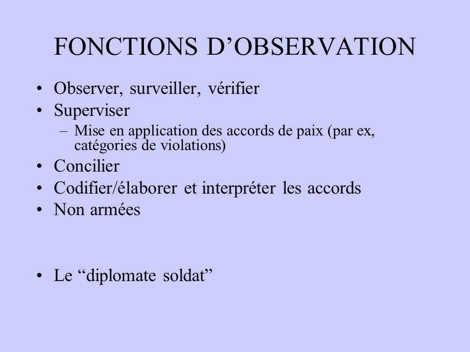 FONCTIONS D'OBSERVATION