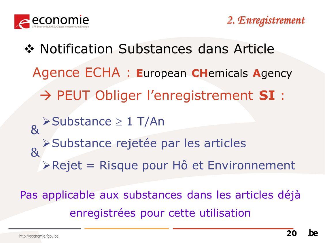Notification Substances dans Article