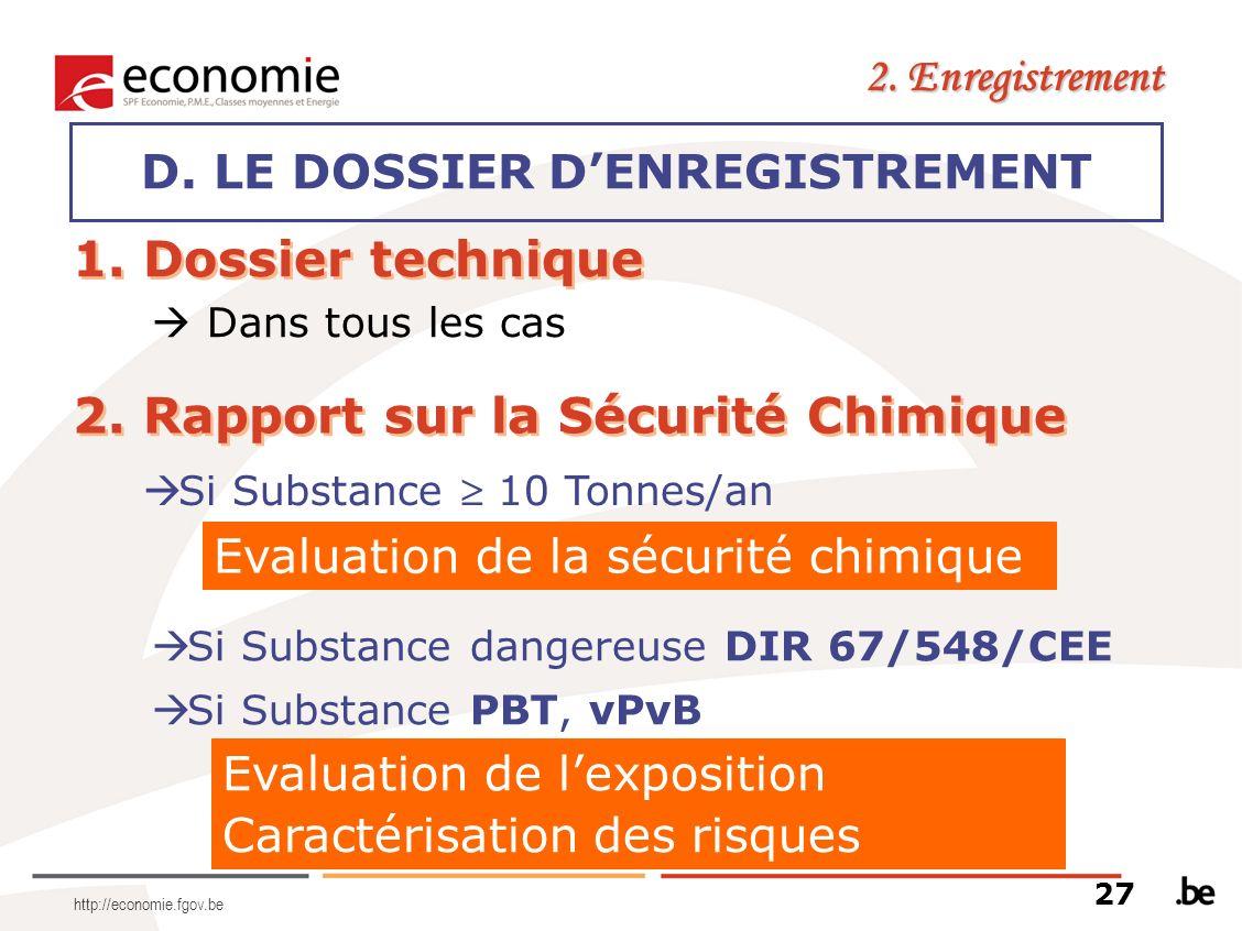D. LE DOSSIER D'ENREGISTREMENT
