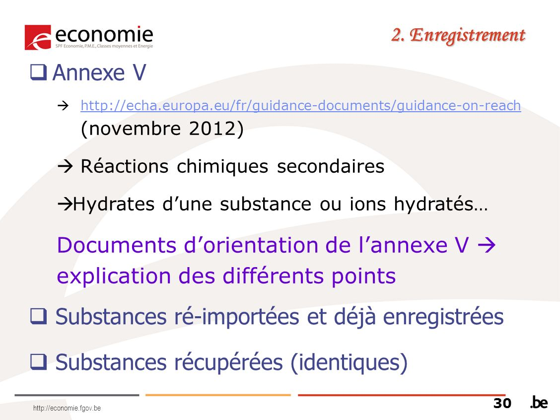 Substances ré-importées et déjà enregistrées