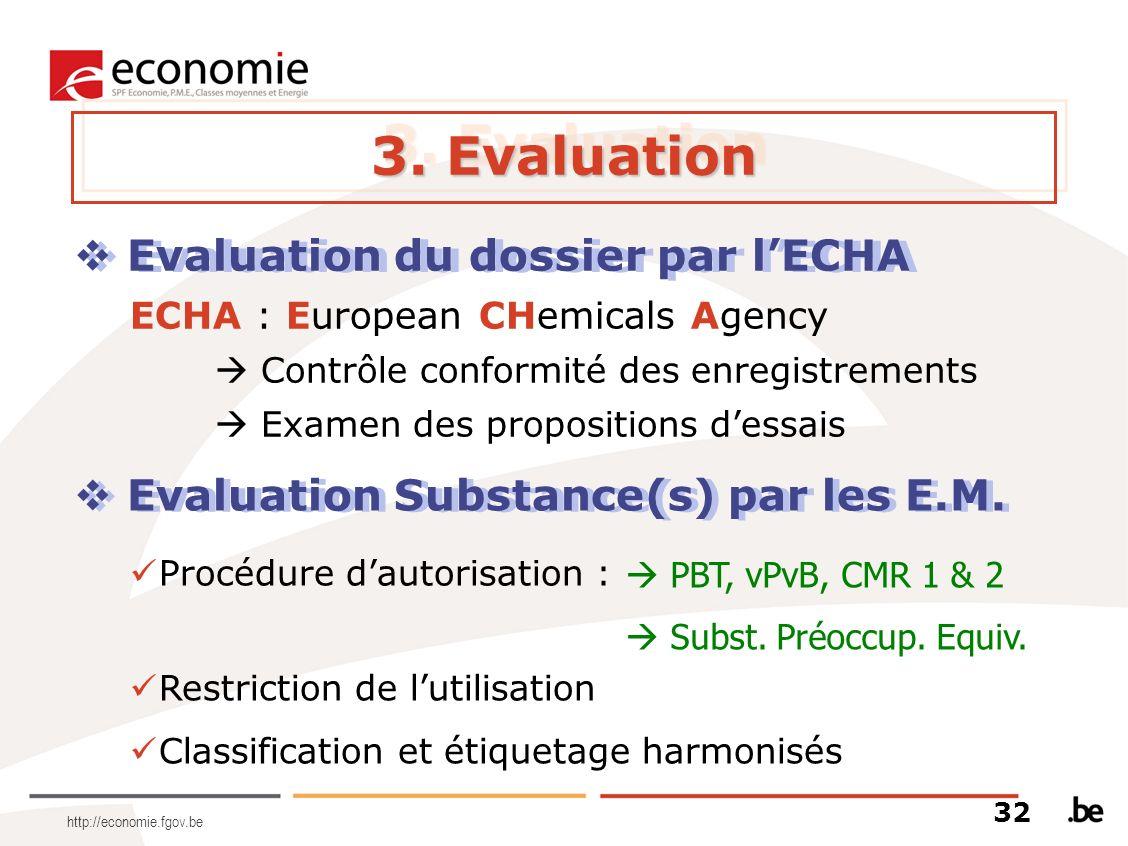 3. Evaluation Evaluation du dossier par l'ECHA