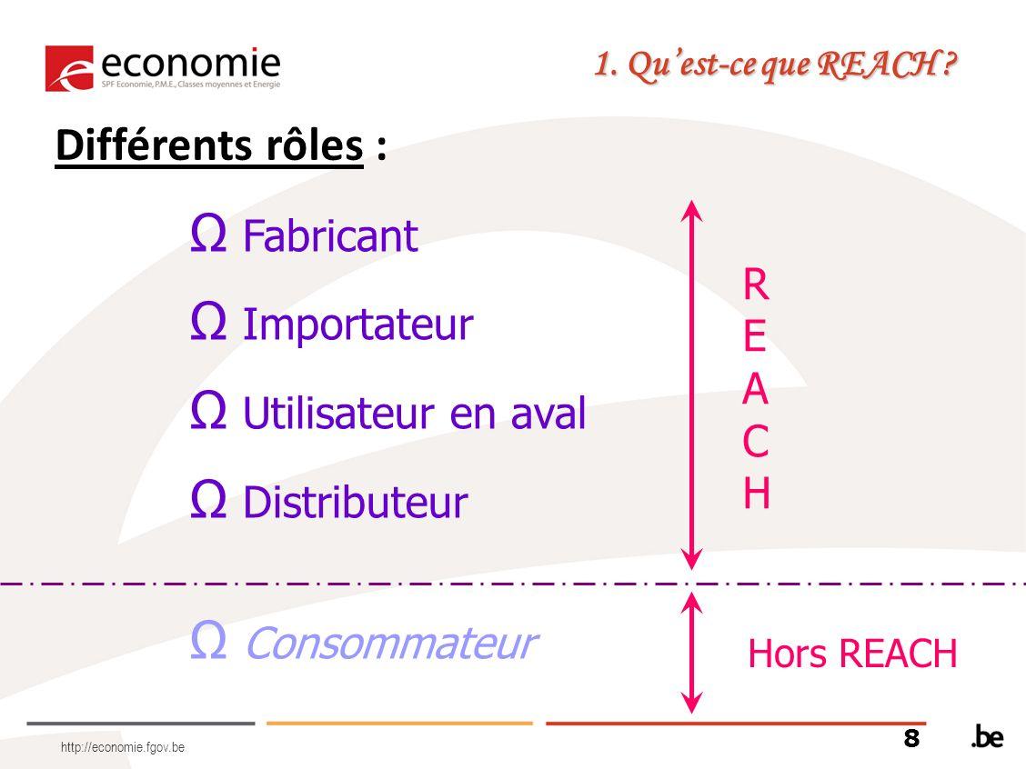 Différents rôles : Fabricant Importateur REACH Utilisateur en aval