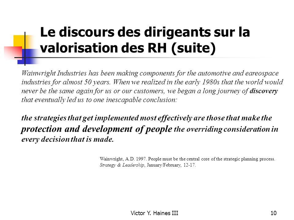 Le discours des dirigeants sur la valorisation des RH (suite)
