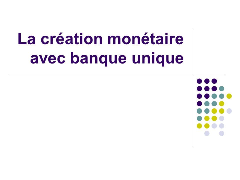La création monétaire avec banque unique