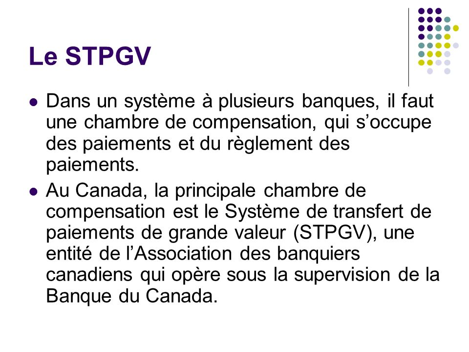 Le STPGV Dans un système à plusieurs banques, il faut une chambre de compensation, qui s'occupe des paiements et du règlement des paiements.