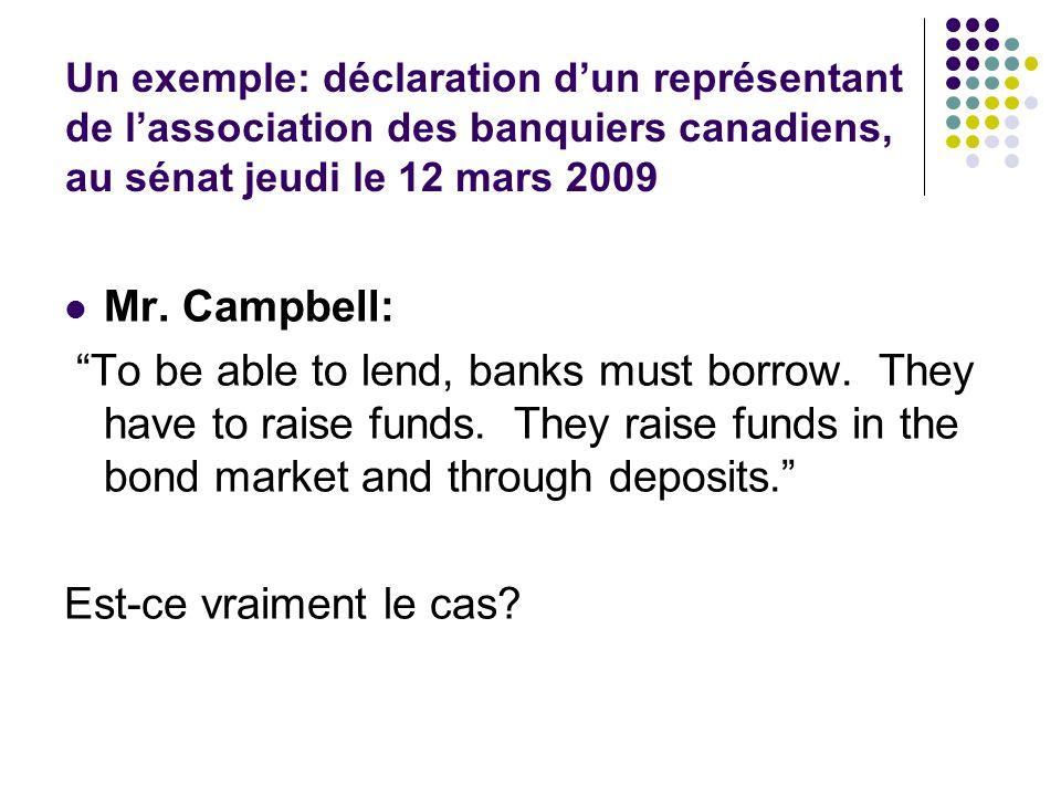Un exemple: déclaration d'un représentant de l'association des banquiers canadiens, au sénat jeudi le 12 mars 2009