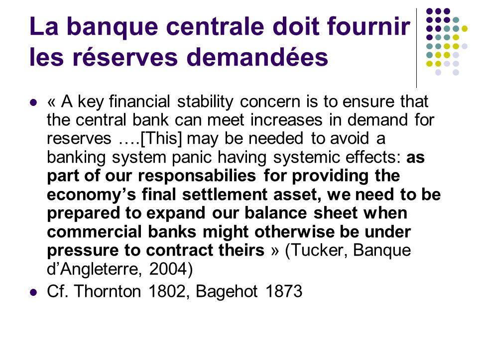 La banque centrale doit fournir les réserves demandées