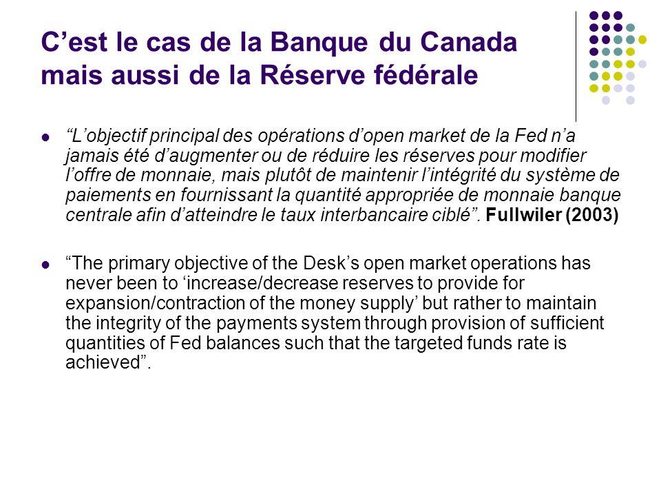 C'est le cas de la Banque du Canada mais aussi de la Réserve fédérale