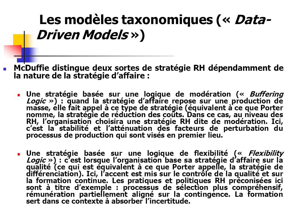 Les modèles taxonomiques (« Data-Driven Models »)