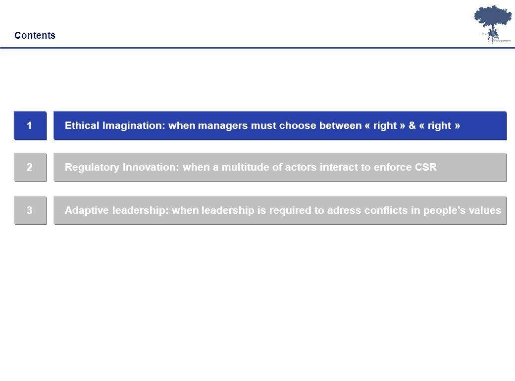 Contents 1. Ethical Imagination: when managers must choose between « right » & « right » 2.