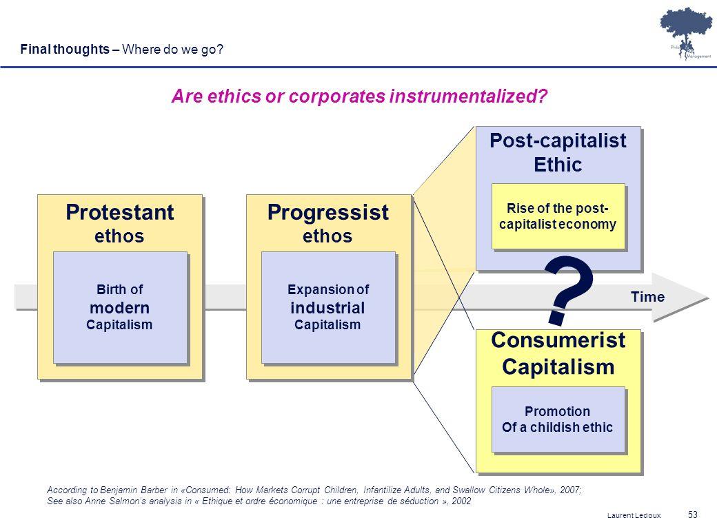 Protestant Progressist Consumerist Capitalism Post-capitalist Ethic