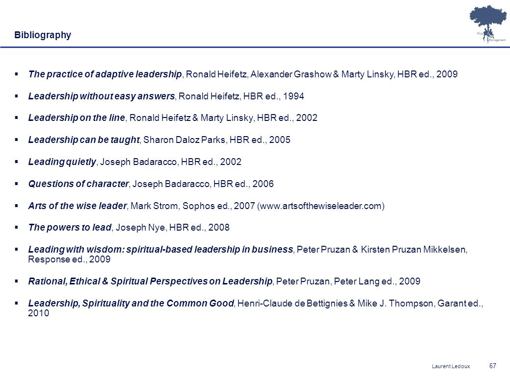 Bibliography The practice of adaptive leadership, Ronald Heifetz, Alexander Grashow & Marty Linsky, HBR ed., 2009.