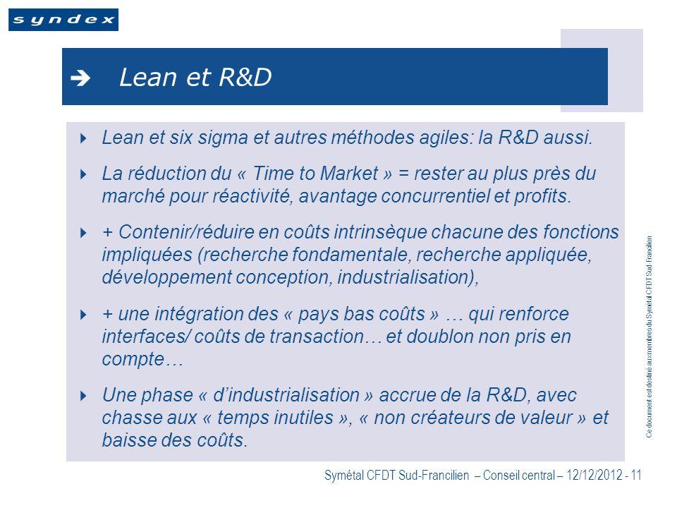 Lean et R&D Lean et six sigma et autres méthodes agiles: la R&D aussi.