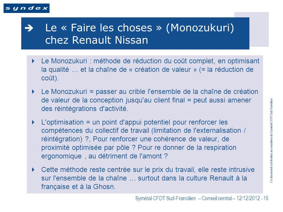 Le « Faire les choses » (Monozukuri) chez Renault Nissan
