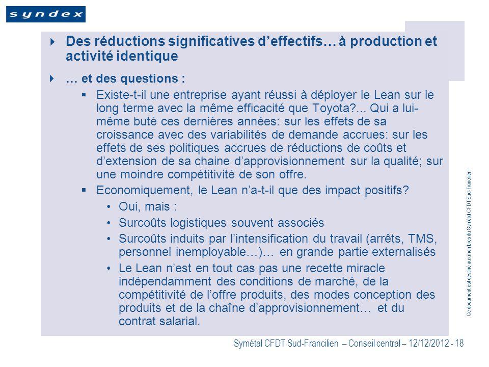 Des réductions significatives d'effectifs… à production et activité identique