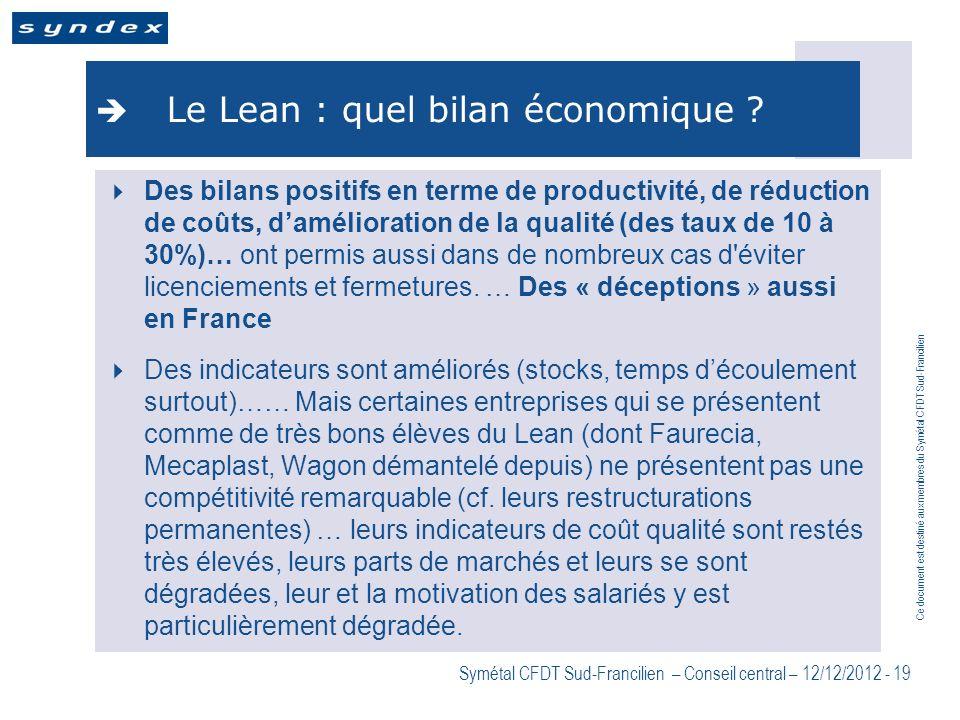 Le Lean : quel bilan économique