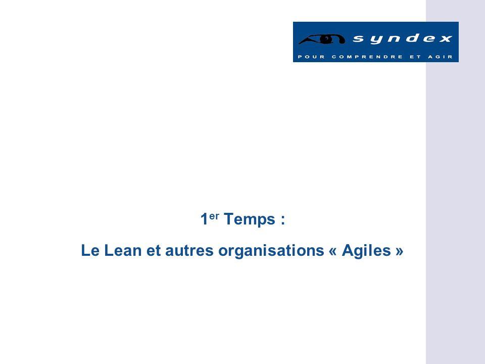 1er Temps : Le Lean et autres organisations « Agiles »
