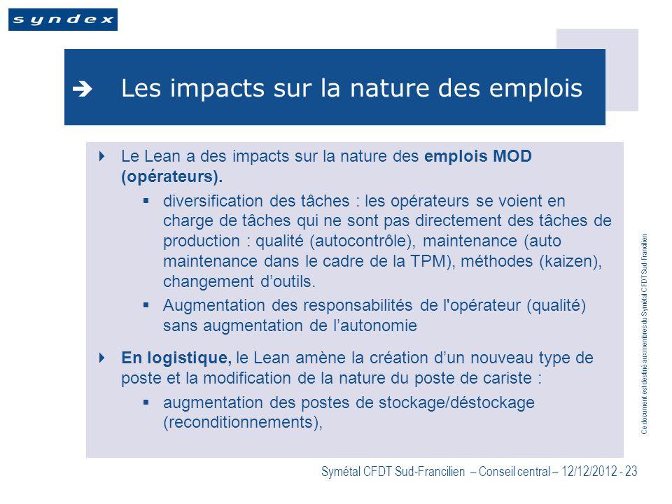 Les impacts sur la nature des emplois