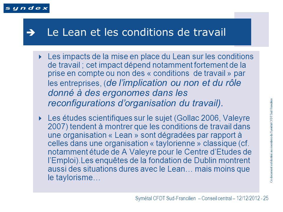 Le Lean et les conditions de travail