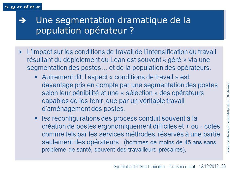 Une segmentation dramatique de la population opérateur