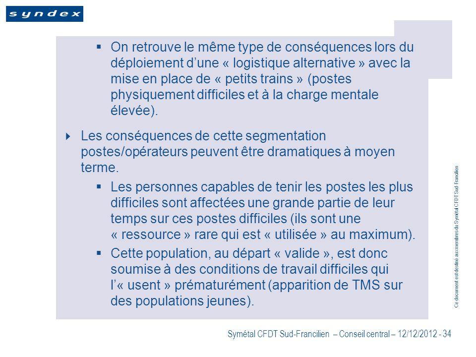 On retrouve le même type de conséquences lors du déploiement d'une « logistique alternative » avec la mise en place de « petits trains » (postes physiquement difficiles et à la charge mentale élevée).