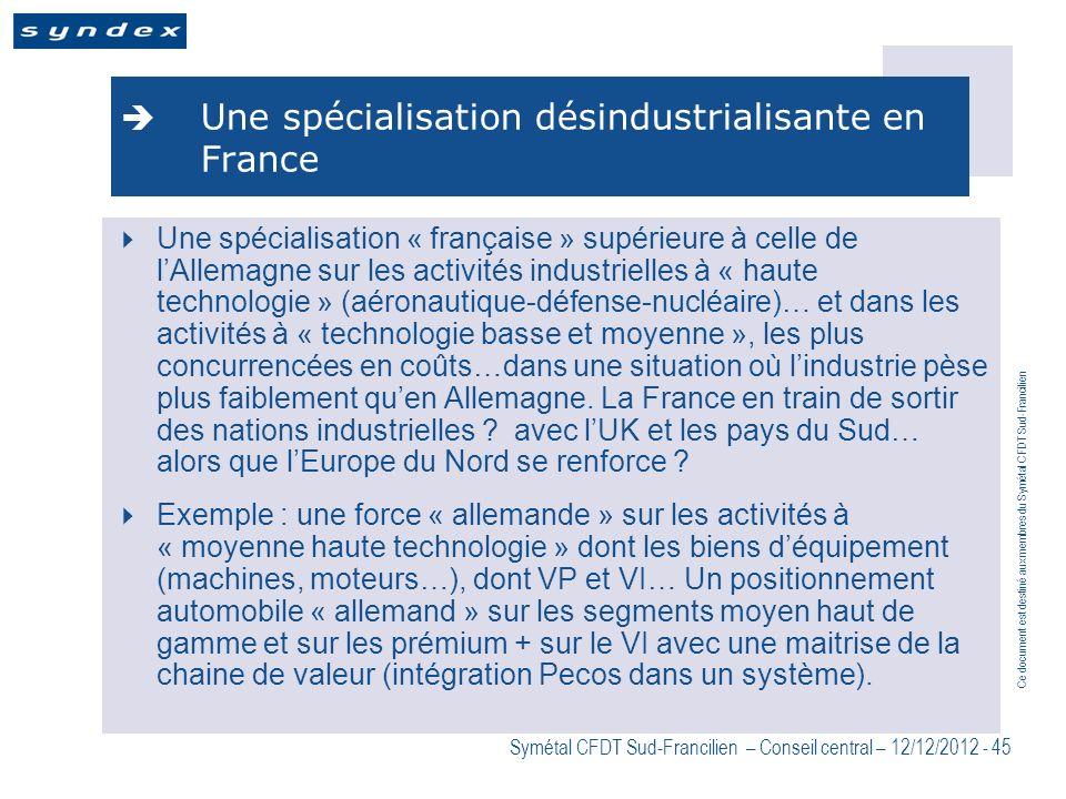 Une spécialisation désindustrialisante en France