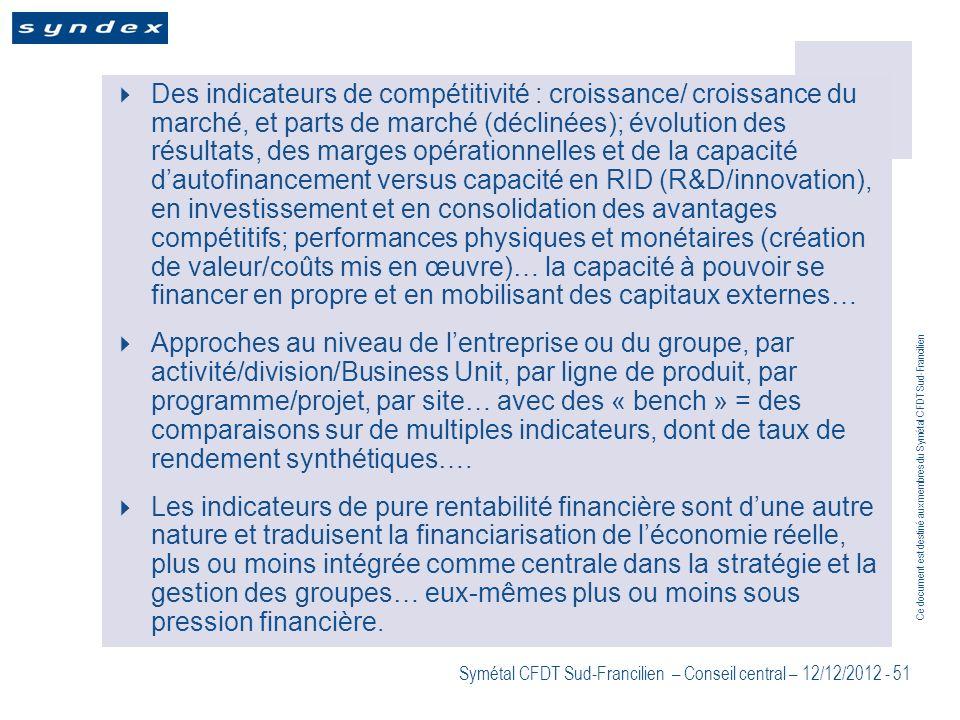 Des indicateurs de compétitivité : croissance/ croissance du marché, et parts de marché (déclinées); évolution des résultats, des marges opérationnelles et de la capacité d'autofinancement versus capacité en RID (R&D/innovation), en investissement et en consolidation des avantages compétitifs; performances physiques et monétaires (création de valeur/coûts mis en œuvre)… la capacité à pouvoir se financer en propre et en mobilisant des capitaux externes…