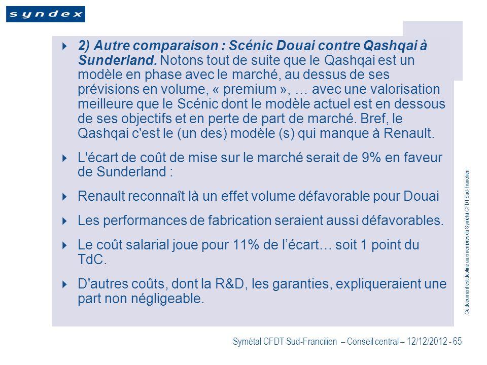 2) Autre comparaison : Scénic Douai contre Qashqai à Sunderland