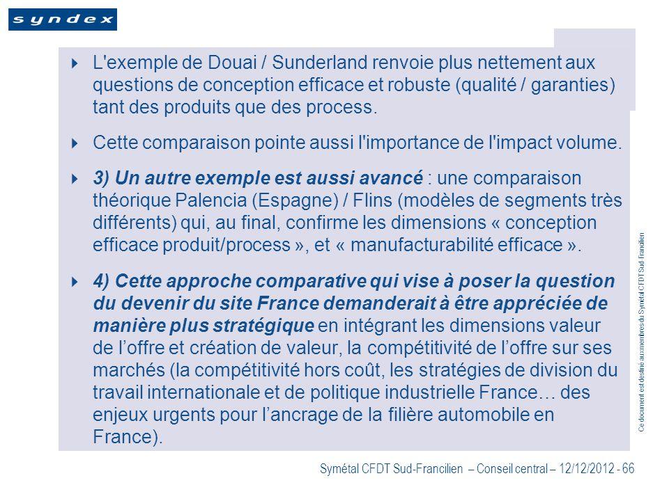 L exemple de Douai / Sunderland renvoie plus nettement aux questions de conception efficace et robuste (qualité / garanties) tant des produits que des process.