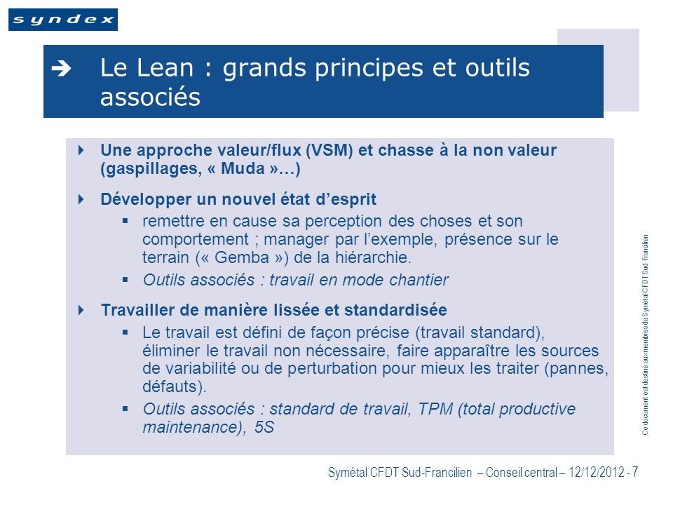 Le Lean : grands principes et outils associés