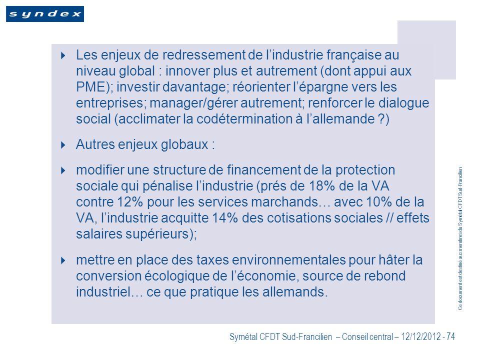 Les enjeux de redressement de l'industrie française au niveau global : innover plus et autrement (dont appui aux PME); investir davantage; réorienter l'épargne vers les entreprises; manager/gérer autrement; renforcer le dialogue social (acclimater la codétermination à l'allemande )