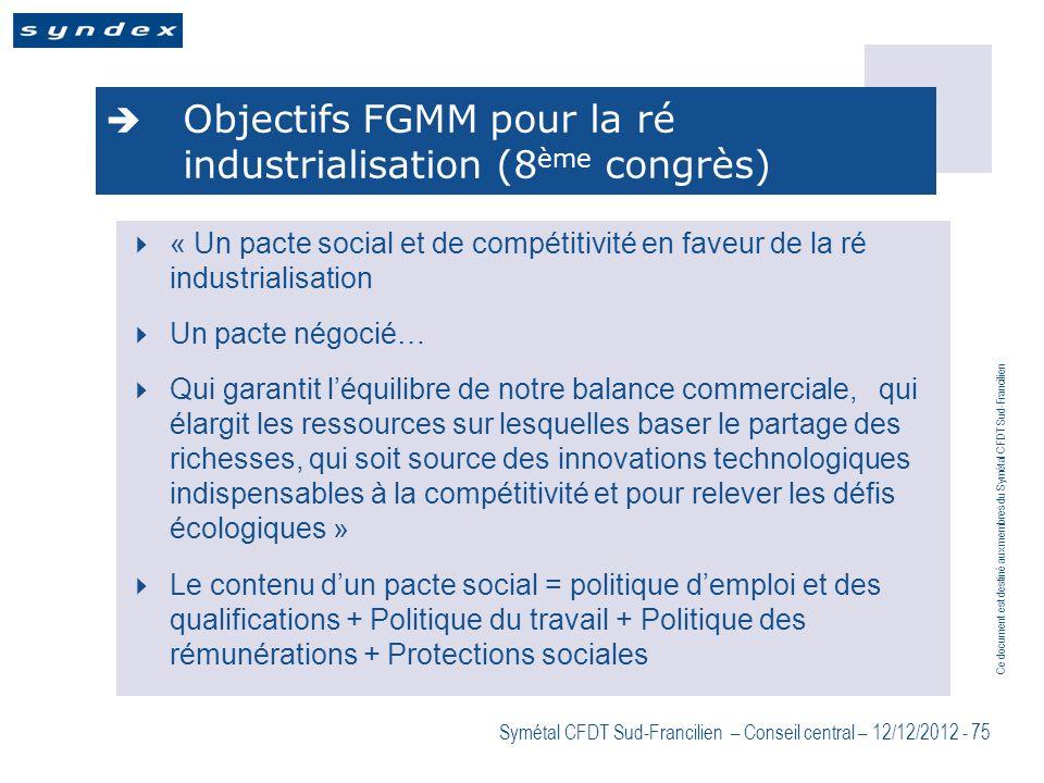Objectifs FGMM pour la ré industrialisation (8ème congrès)