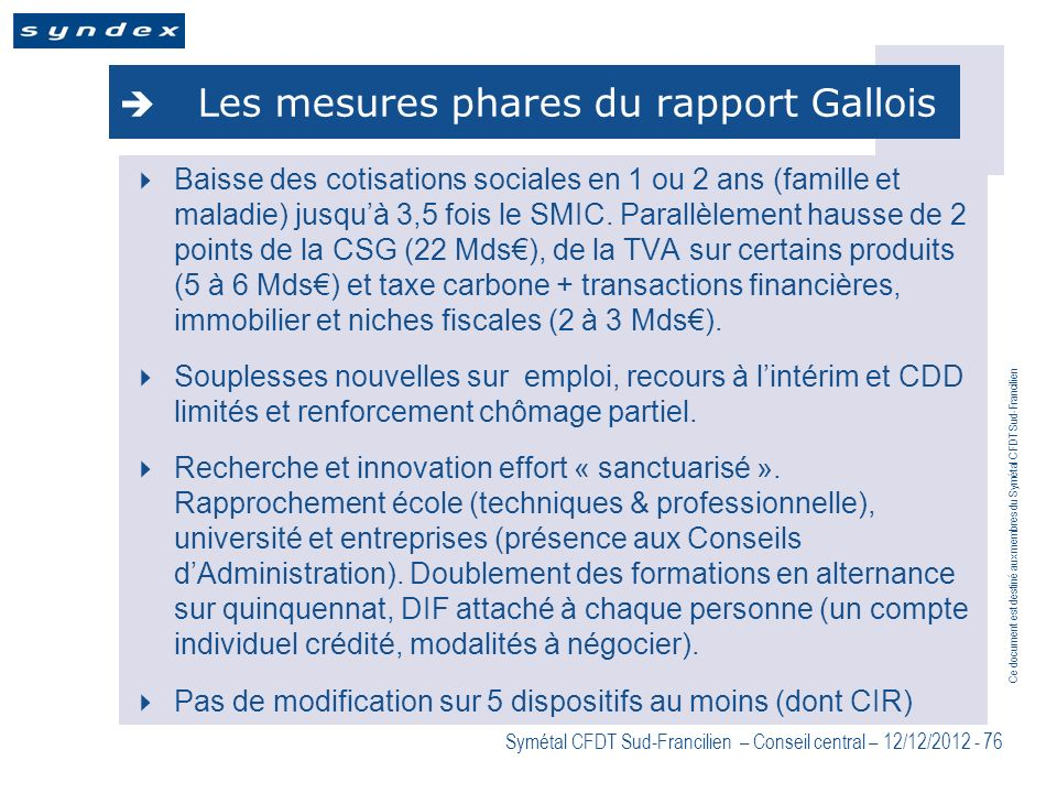Les mesures phares du rapport Gallois