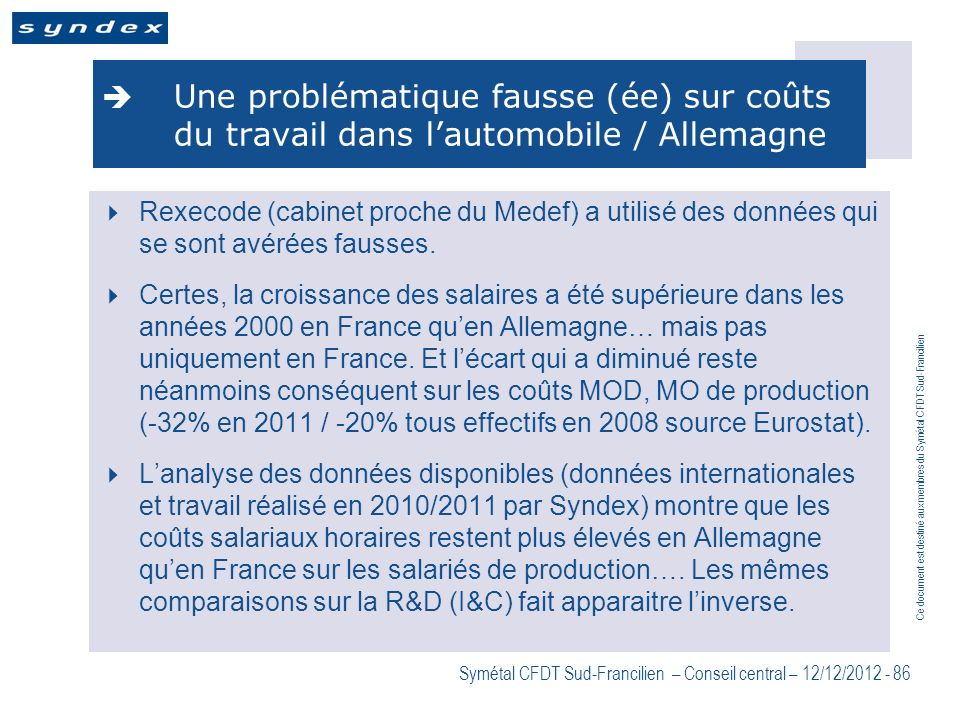 Une problématique fausse (ée) sur coûts du travail dans l'automobile / Allemagne