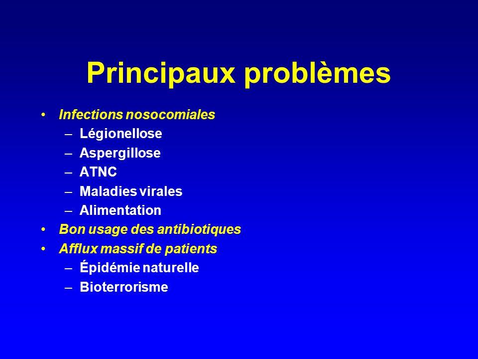 Principaux problèmes Infections nosocomiales Légionellose Aspergillose