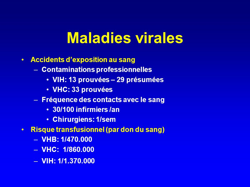 Maladies virales Accidents d'exposition au sang