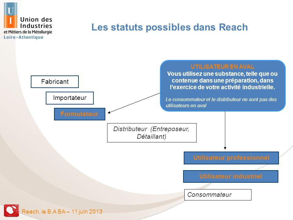 Les statuts possibles dans Reach