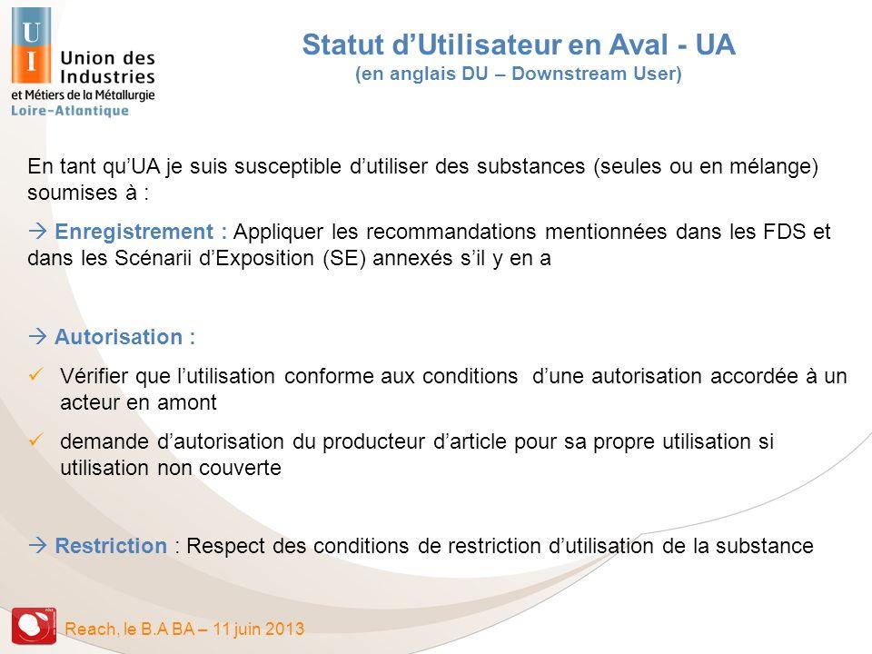 Statut d'Utilisateur en Aval - UA (en anglais DU – Downstream User)