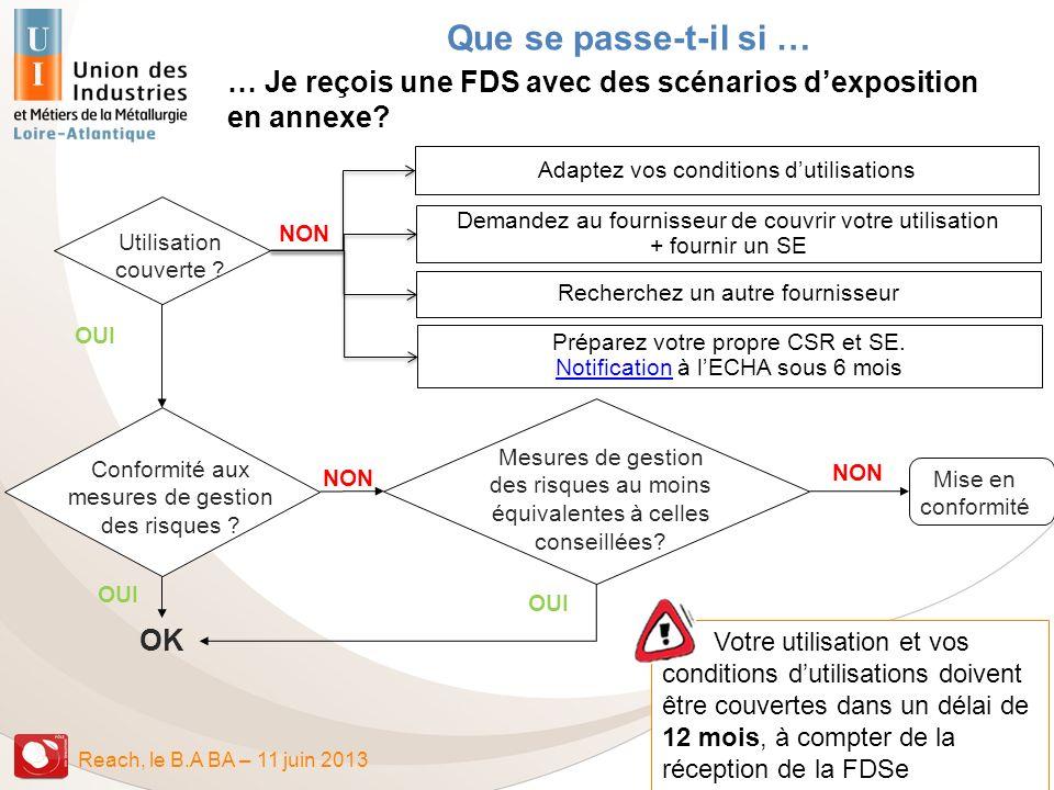 Que se passe-t-il si … … Je reçois une FDS avec des scénarios d'exposition. en annexe Adaptez vos conditions d'utilisations.