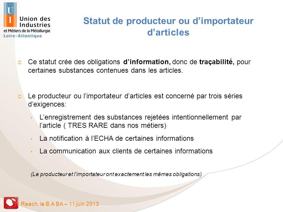 Statut de producteur ou d'importateur d'articles